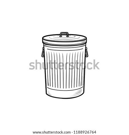 trash bin hand drawn outline doodle stock vector royalty free