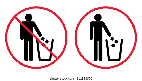 Trash bin with human figure symbol. Garbage red sign icon. Circle Prohibited Sign For No Littering, Please Use A Trash Can or Keep Area Clean Concept Present Recycle bin, vector, isolated on white