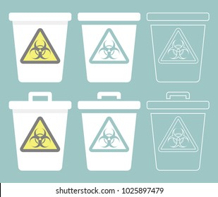Trash bin icon with biohazard symbol