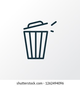 Trash bin icon line symbol. Premium quality isolated trashcan element in trendy style.