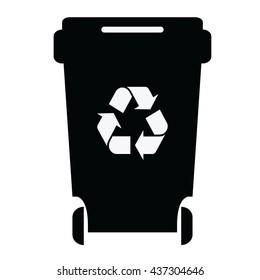 Trash bin icon.Black container