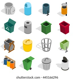Trash bin icons set. Isometric 3d illustration of trash bin signs. Garbage isometric vector set isolated on white background