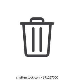 Trash bin line simple icon, outline vector sign, linear style pictogram isolated on white. Delete symbol, logo illustration. Editable stroke. Pixel perfect vector graphics