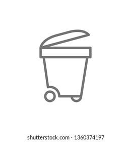 Trash bin, trashcan, waste, garbage line icon.