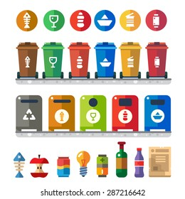 Trash bins, sorting garbage: food waste, glass, metal, paper, plastic. Vector flat illustration of colorful garbage containers