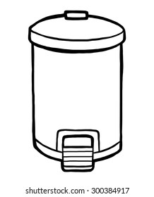 trash can / cartoon vector and illustration, black and white, hand drawn, sketch style, isolated on white background.