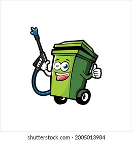 trash can cleaning illustration logo
