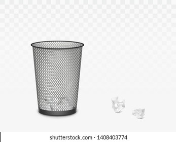 Trash can with crumpled paper inside and around. Office, home litter bin for thrown sheets, wastepaper garbage basket isolated on transparent background. 3d Realistic vector illustration, clip art