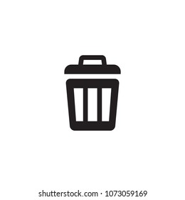 Trash can garbage, throw, bucket, container icon vector flat symbol illustration