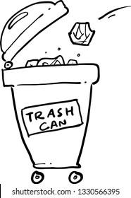 trash can hand drawn