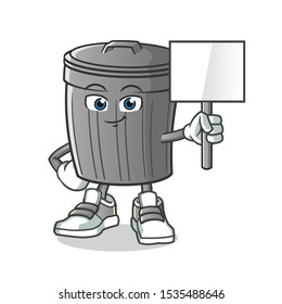 trash can holding announcement board mascot vector cartoon illustration