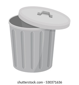 Trash can icon in cartoon style isolated on white background. Trash and garbage symbol vector illustration.