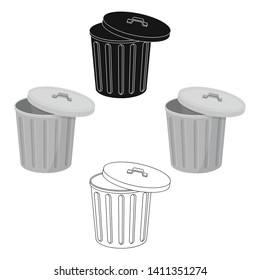Trash can icon in cartoon,black style isolated on white background. Trash and garbage symbol stock vector illustration.