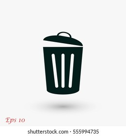 Trash can icon, flat design best vector icon