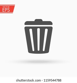 Trash can icon. Garbage bin sign. Recycle basket vector illustration. Delete concept. Rubbish trashcan symbol.