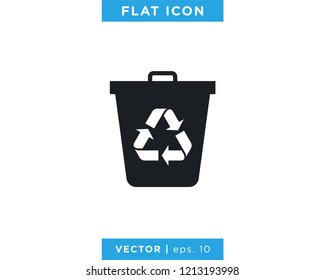 Trash Can Icon Vector Logo Design Template.
