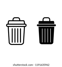 Trash can line and glyph icon. Bin vector illustration isolated on white. Garbage bucket outline style design, designed for web and app. Eps 10