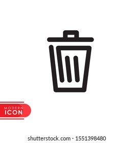trash can line icon with modern design. flat style for graphic design template. suitable for logo, web, UI, mobile app. vector illustration
