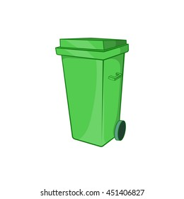 Trash can on wheels icon in cartoon style isolated on white background. Garbage symbol
