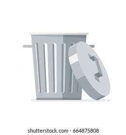 Trash can with opened lid. Isolated, on white background. Vector, illustration, flat