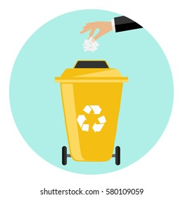 Trash can, out wheeled bin icon, throw garbage, waste, bottle, swing apple, paper, unnecessary things, to throw. Flat design, vector illustration, vector.