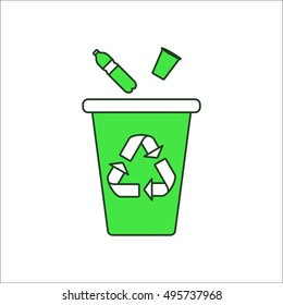 Trash can for plastic recycle sign flat symbol icon on background