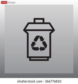 trash can with recycling symbol (icon)