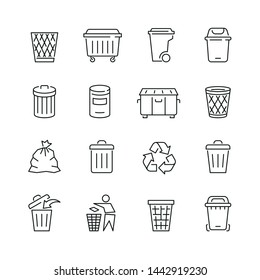 Trash can related icons: thin vector icon set, black and white kit