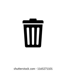 Trash Can, Rubbish Bin. Flat Vector Icon illustration. Simple black symbol on white background. Trash Can, Rubbish Bin sign design template for web and mobile UI element