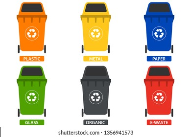 Trash can, a set of trash cans for separate garbage collection. Trash can under plastic, paper, metal, organic waste. Vector illustration, vector.
