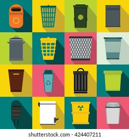 Trash can set. Flat illustration of dustbin or trash can icons vector for web design