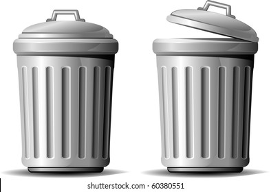 Trash can. Vector illustration over white