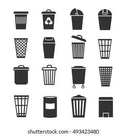 Trash can, waste basket, trash bin, garbage vector icons. Dustbin and container, trashcan bucket illustration