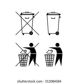 Trash can. Waste recycling. Do not litter. Municipal waste. Bin silhouette. Do not litter