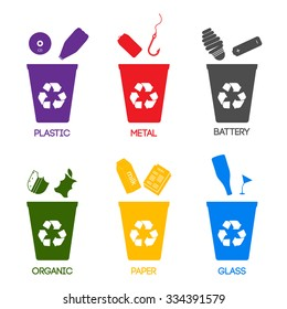 Trash categories. Recycle garbage bins. Separation concept. Set waste: plastic, organic, battery, glass, metal, paper. Environment protection.