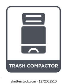 trash compactor icon vector on white background, trash compactor trendy filled icons from Electronic devices collection, trash compactor simple element illustration
