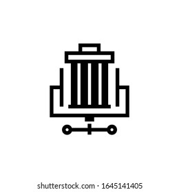 Trash compactor vector icon in black flat shape design isolated on white background
