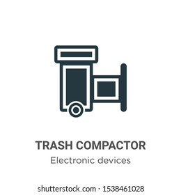 Trash compactor vector icon on white background. Flat vector trash compactor icon symbol sign from modern electronic devices collection for mobile concept and web apps design.