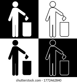 Trash disposal icon. Man removes trash. The cleaner removes trash in the bin. Vector image.
