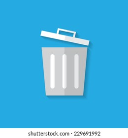 Trash flat icon with shadow. Vector illustration eps10.