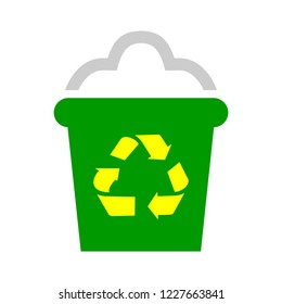 Trash in garbage cans with sorted garbage vector icons. Recycling garbage and recycled isolated on white background