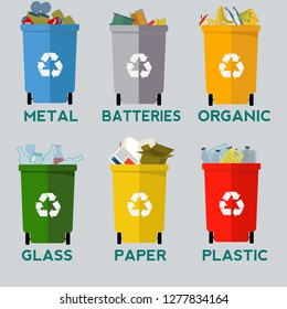Trash in garbage cans with sorted garbage vector icons. Recycling garbage separation collection and recycled