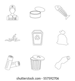 Trash and garbage set icons in outline style. Big collection of trash and garbage vector symbol stock illustration