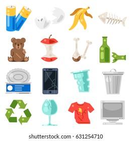 Trash and garbage set icons. Vector flat illustration on white background