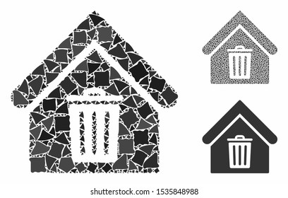 Trash house composition of uneven items in different sizes and color hues, based on trash house icon. Vector irregular items are combined into collage. Trash house icons collage with dotted pattern.