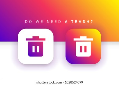 Trash Icon. Delete Icon. Remove Icon. Destroy icon. Square contained. Use for brand logo, application, ux-ui, web, Colorful design. Compatible with jpg, png, eps, cdr, svg, pdf, ico, gif.