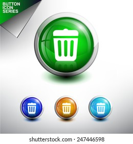 Trash Icon. Glossy Button Icon Set. Vector Illustration