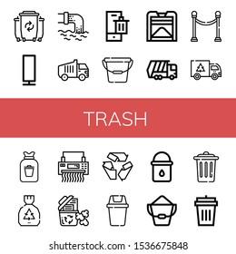 trash icon set. Collection of Waste, Paper lamp, Garbage truck, Bin, Bucket, Compost, Separator, Garbage, Rubbish, Shredder, Recycle bin, Recycle, Water bucket, Trash, Garbage bin icons