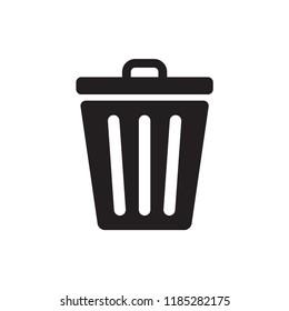 trash icon in trendy flat design