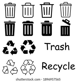 Trash icon vector set. Recycle illustration sign collection. Green symbol.